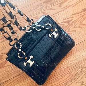 "Tory  ""Like New"" Patent Leather Croc Embossed Bag"